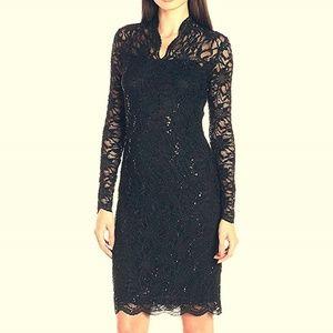💜MARINA💜 10 NEW BLACK SEQUIN LACE DRESS